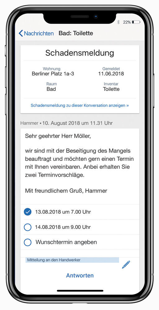 Chat mit dem Mieter in der easysquare Mieter-App