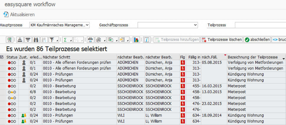 Die Prozessbibliothek Real Estate in easysquare workflow